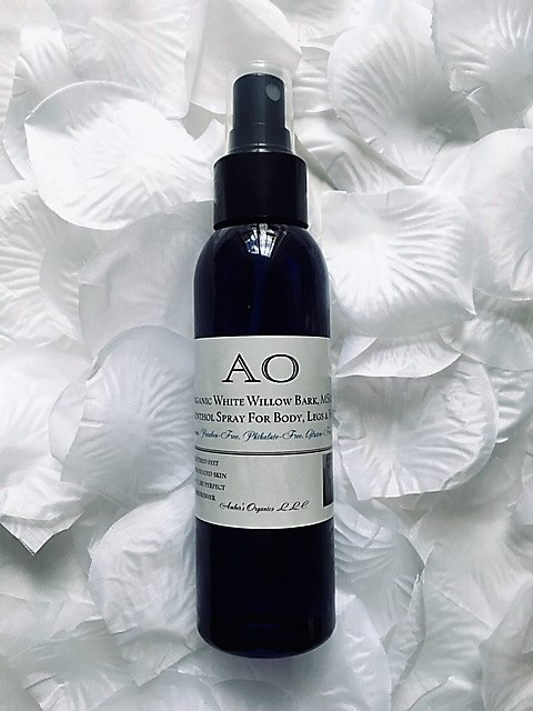 Organic White Willow Bark, MSM & Menthol Spray For Body, Legs & Feet