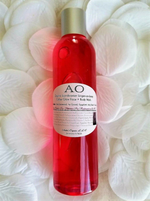 New! Organic Scandinavian Linger on Berry Colour Glow Face + Body Wash. SkinTonikals - Red Seaweed,