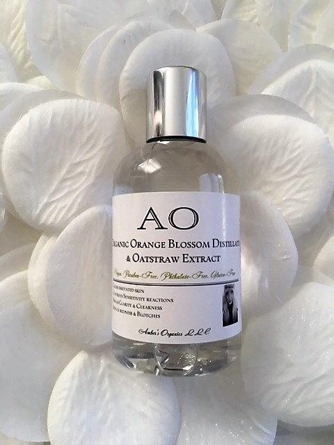 Organic Orange Blossom Distillate + Oatstraw Fine Skin Toner. Emollient for Dry Intensely Sensitive