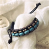 Beautiful Brass and Turquose Oval Artificial Stone Slip-knotted Leather Bracelets